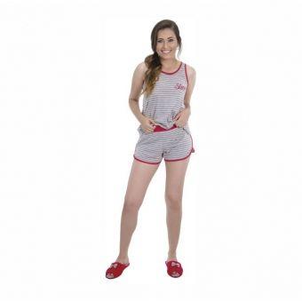 22775f9db Short Doll em Malha de Algodão Listrada - PUFF - Azul